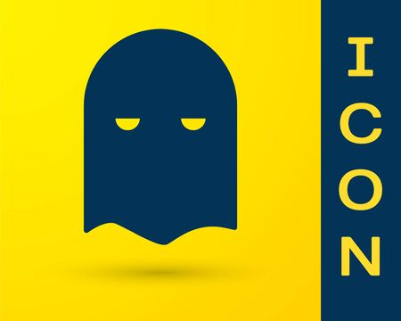 Blue Executioner mask icon isolated on yellow background. Hangman, torturer, executor, tormentor, butcher, headsman icon. Vector Illustration Illustration