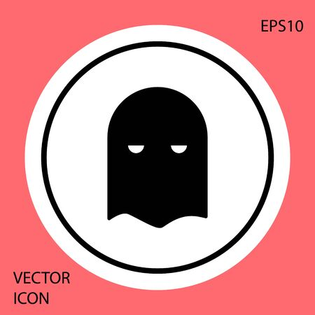 Black Executioner mask icon isolated on red background. Hangman, torturer, executor, tormentor, butcher, headsman icon. White circle button. Vector Illustration