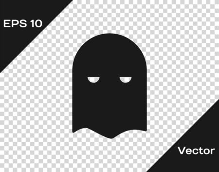 Grey Executioner mask icon isolated on transparent background. Hangman, torturer, executor, tormentor, butcher, headsman icon. Vector Illustration