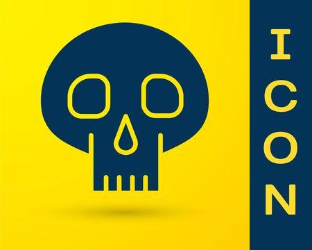 Blue Skull icon isolated on yellow background. Vector Illustration Ilustracja
