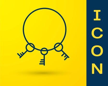Blue Old keys icon isolated on yellow background. Vector Illustration 일러스트