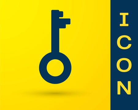 Blue Old key icon isolated on yellow background. Vector Illustration