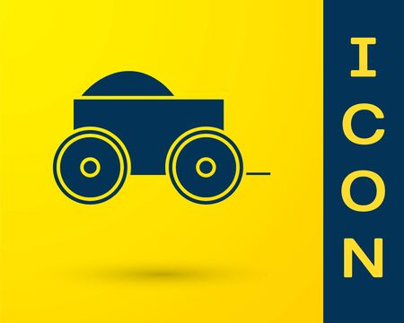 Blue Wooden four-wheel cart with hay icon isolated on yellow background. Vector Illustration Ilustração