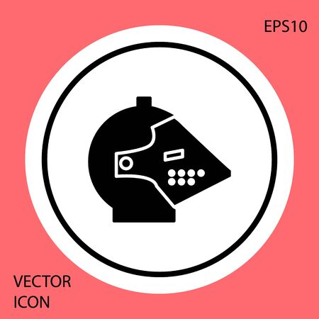 Black Medieval iron helmet for head protection icon isolated on red background. White circle button. Vector Illustration Illustration
