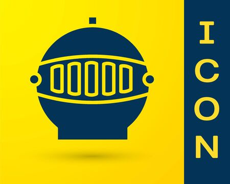 Blue Medieval iron helmet for head protection icon isolated on yellow background. Vector Illustration