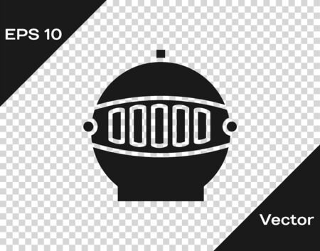 Grey Medieval iron helmet for head protection icon isolated on transparent background. Vector Illustration