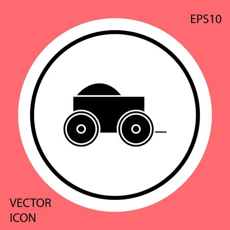 Black Wooden four-wheel cart with hay icon isolated on red background. White circle button. Vector Illustration
