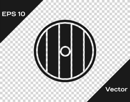 Grey Round wooden shield icon isolated on transparent background. Security, safety, protection, privacy, guard concept. Vector Illustration Vectores