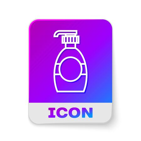 White line Bottle of liquid antibacterial soap with dispenser icon isolated on white background. Disinfection, hygiene, skin care concept. Rectangle color button. Vector Illustration Illustration