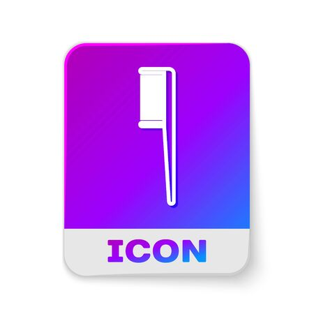 White line Hairbrush icon isolated on white background. Comb hair sign. Barber symbol. Rectangle color button. Vector Illustration