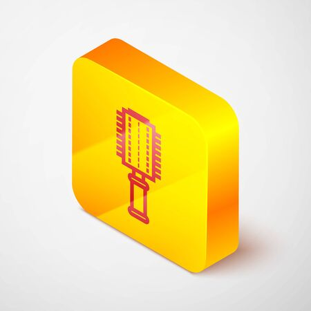 Isometric line Hairbrush icon isolated on grey background. Comb hair sign. Barber symbol. Yellow square button. Vector Illustration Иллюстрация