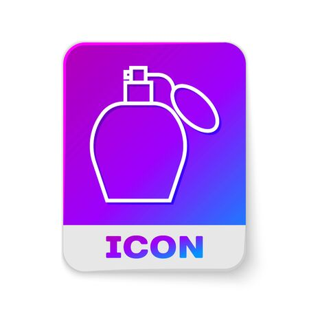 White line Perfume icon isolated on white background. Rectangle color button. Vector Illustration