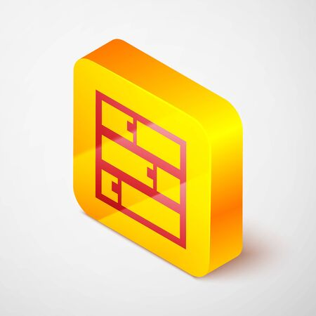 Isometric line Shelf icon isolated on grey background. Shelves sign. Yellow square button. Vector Illustration Ilustracja