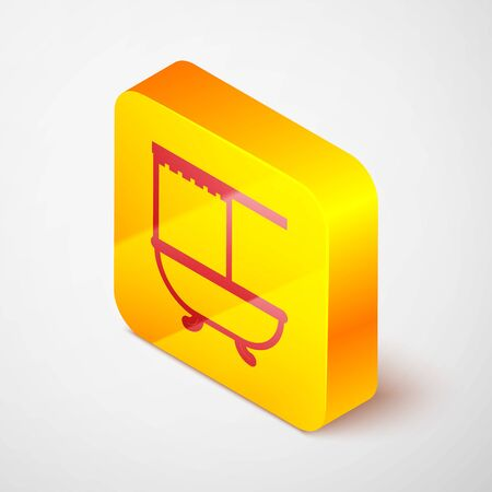 Isometric line Bathtub with open shower curtain icon isolated on grey background. Yellow square button. Vector Illustration Ilustrace