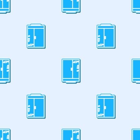 Blue line Shower cabin icon isolated seamless pattern on grey background. Vector Illustration