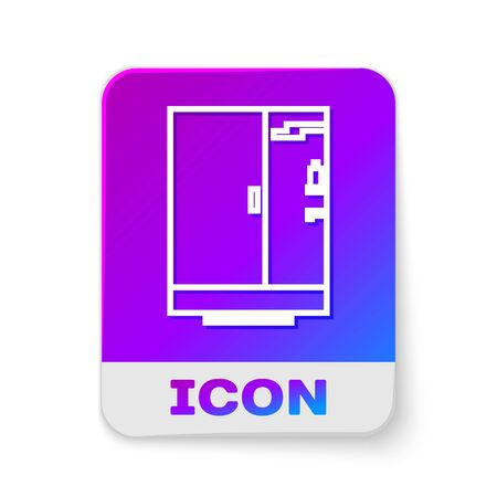 White line Shower cabin icon isolated on white background. Rectangle color button. Vector Illustration
