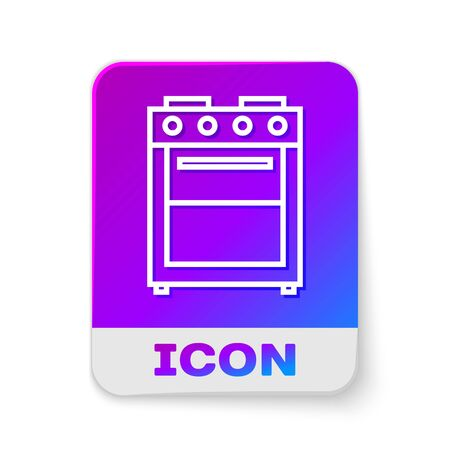 White line Oven icon isolated on white background. Stove gas oven sign. Rectangle color button. Vector Illustration