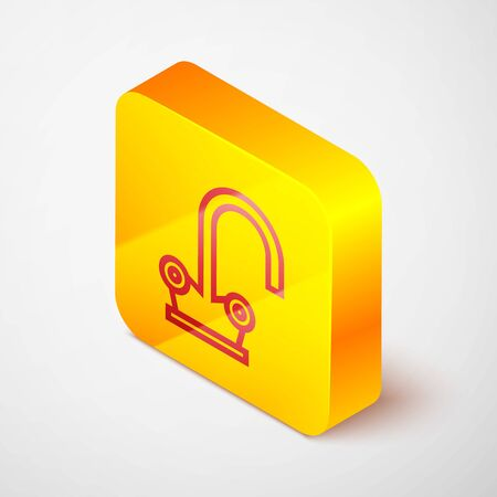 Isometric line Water tap icon isolated on grey background. Yellow square button. Vector Illustration Ilustrace