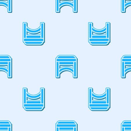 Blue line Chair icon isolated seamless pattern on grey background. Vector Illustration