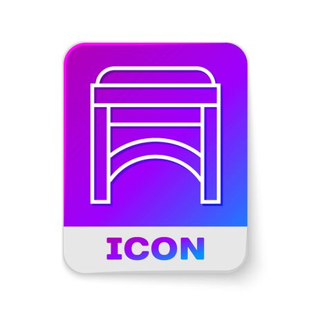 White line Chair icon isolated on white background. Rectangle color button. Vector Illustration Ilustrace
