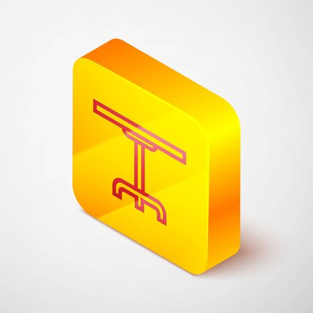 Isometric line Round table icon isolated on grey background. Yellow square button. Vector Illustration Archivio Fotografico - 138379800