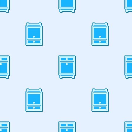 Blue line Furniture nightstand icon isolated seamless pattern on grey background. Vector Illustration