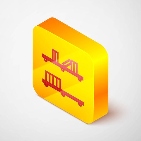 Isometric line Shelf with books icon isolated on grey background. Shelves sign. Yellow square button. Vector Illustration