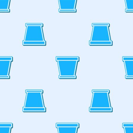 Blue line Flower pot icon isolated seamless pattern on grey background. Vector Illustration