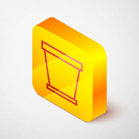 Isometric line Flower pot icon isolated on grey background. Yellow square button. Vector Illustration