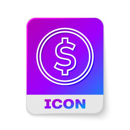 White line Coin money with dollar symbol icon isolated on white background. Banking currency sign. Cash symbol. Rectangle color button. Vector Illustration