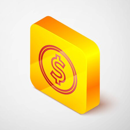 Isometric line Coin money with dollar symbol icon isolated on grey background. Banking currency sign. Cash symbol. Yellow square button. Vector Illustration 일러스트