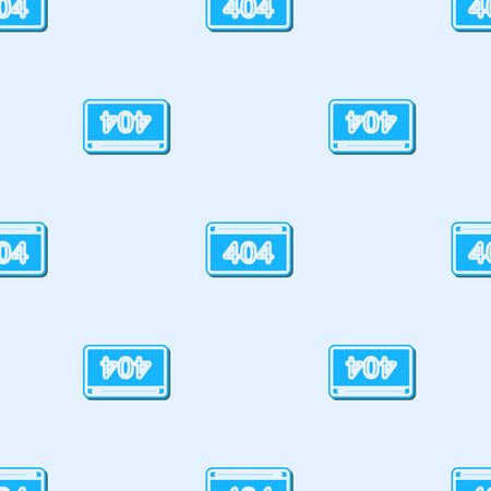 Blue line Page with a 404 error icon isolated seamless pattern on grey background. Template reports that the page is not found. Vector Illustration
