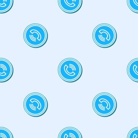 Blue line Phone call icon isolated seamless pattern on grey background. Vector Illustration