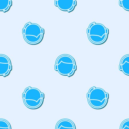 Blue line Man with a headset icon isolated seamless pattern on grey background. Support operator in touch. Concept for call center, client support service. Vector Illustration