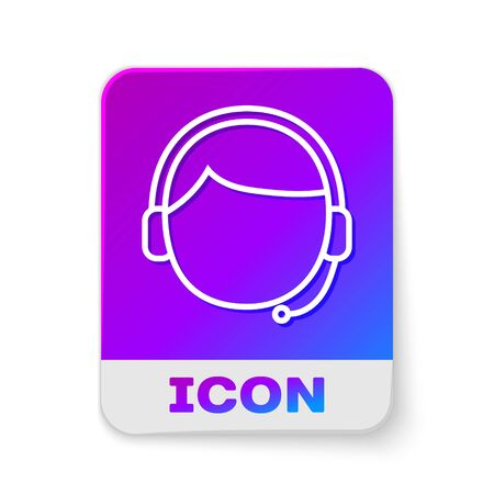 White line Man with a headset icon isolated on white background. Support operator in touch. Concept for call center, client support service. Rectangle color button. Vector Illustration