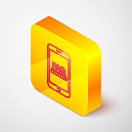 Isometric line Mobile phone with text FAQ information icon isolated on grey background. Frequently asked questions. Yellow square button. Vector Illustration