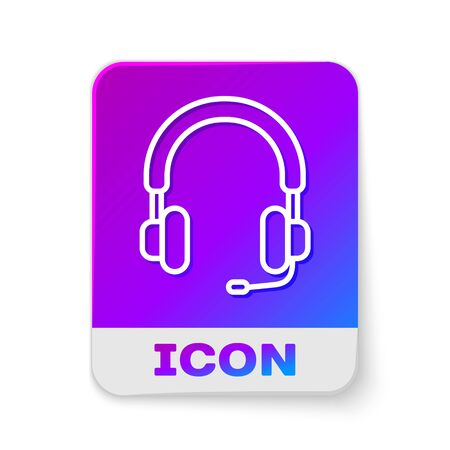 White line Headphones icon isolated on white background. Earphones. Concept for listening to music, service, communication and operator. Rectangle color button. Vector Illustration