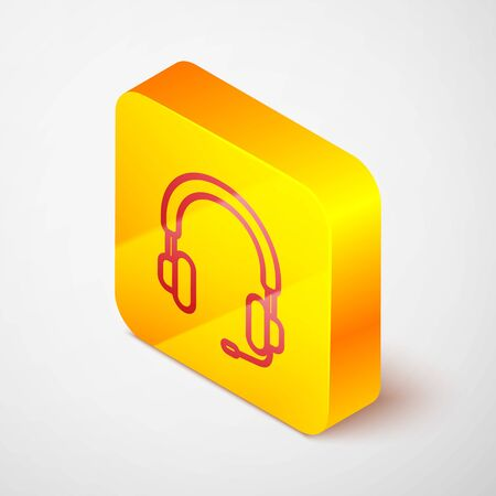 Isometric line Headphones icon isolated on grey background. Earphones. Concept for listening to music, service, communication and operator. Yellow square button. Vector Illustration Çizim