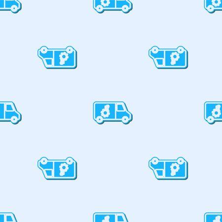Blue line Car service icon isolated seamless pattern on grey background. Repair service auto mechanic. Maintenance sign. Vector Illustration Standard-Bild - 138379865