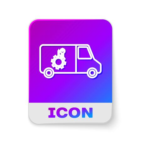 White line Car service icon isolated on white background. Repair service auto mechanic. Maintenance sign. Rectangle color button. Vector Illustration Standard-Bild - 138379866