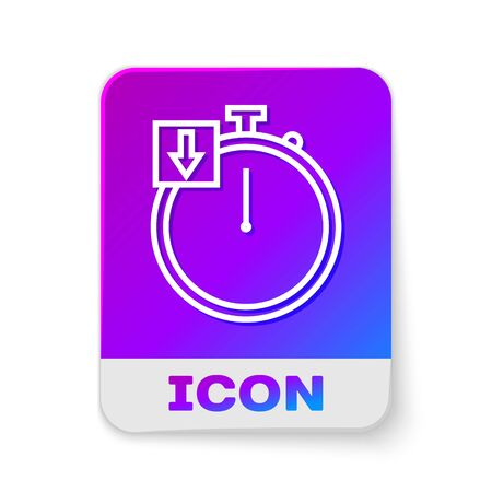 White line Stopwatch icon isolated on white background. Time timer sign. Chronometer. Rectangle color button. Vector Illustration  イラスト・ベクター素材