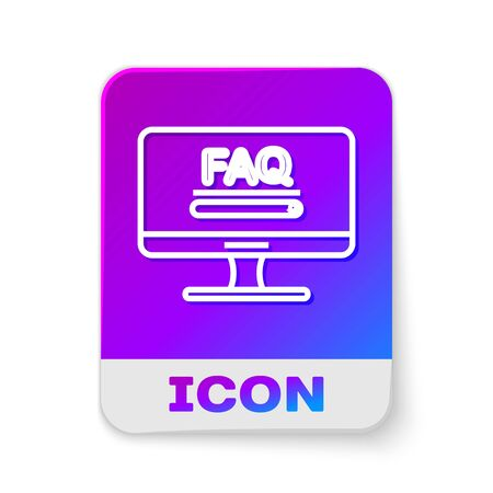 White line Computer monitor with text FAQ information icon isolated on white background. Frequently asked questions. Rectangle color button. Vector Illustration  イラスト・ベクター素材