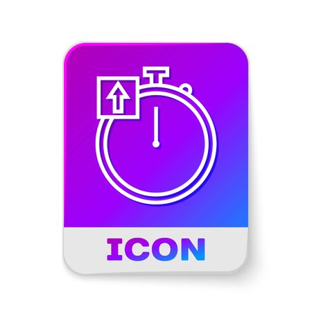 White line Stopwatch icon isolated on white background. Time timer sign. Chronometer sign. Rectangle color button. Vector Illustration
