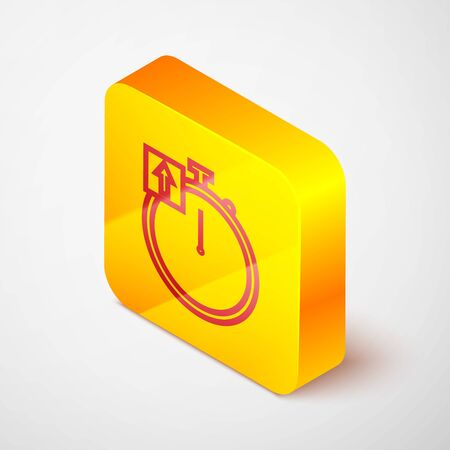 Isometric line Stopwatch icon isolated on grey background. Time timer sign. Chronometer sign. Yellow square button. Vector Illustration