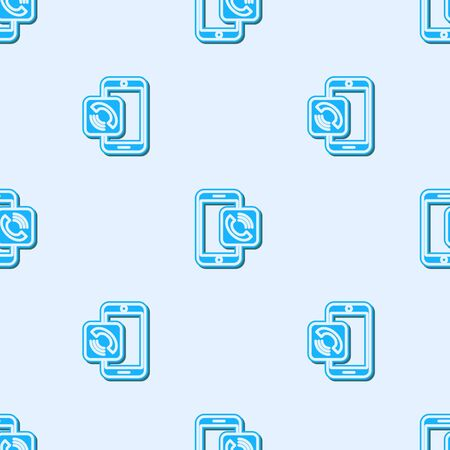 Blue line Mobile phone call icon isolated seamless pattern on grey background. Vector Illustration