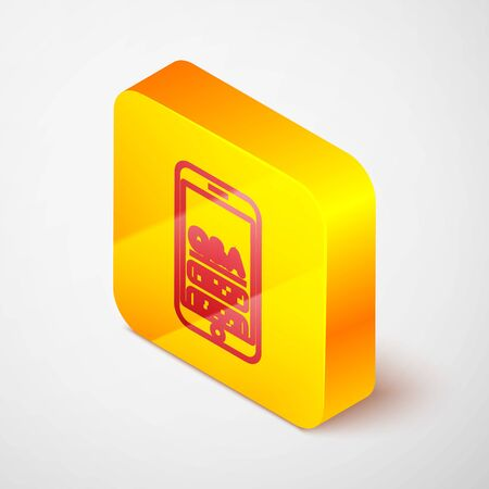 Isometric line Mobile phone with Question and Exclamation icon isolated on grey background. Frequently asked questions. Yellow square button. Vector Illustration  イラスト・ベクター素材