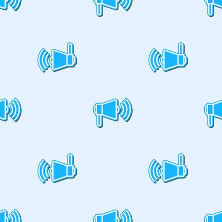 Blue line Megaphone icon isolated seamless pattern on grey background. Loud speach alert concept. Bullhorn for Mouthpiece scream promotion. Vector Illustration
