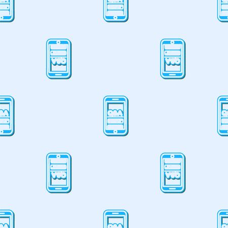 Blue line Mobile phone with Question and Exclamation icon isolated seamless pattern on grey background. Frequently asked questions. Vector Illustration