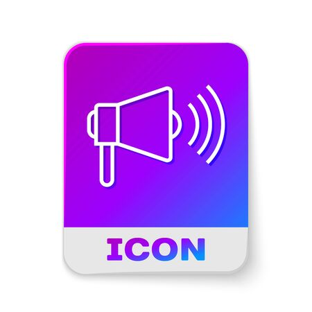 White line Megaphone icon isolated on white background. Loud speach alert concept. Bullhorn for Mouthpiece scream promotion. Rectangle color button. Vector Illustration Çizim