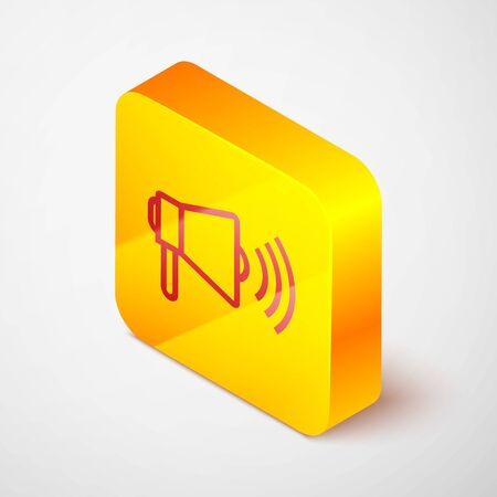 Isometric line Megaphone icon isolated on grey background. Loud speach alert concept. Bullhorn for Mouthpiece scream promotion. Yellow square button. Vector Illustration
